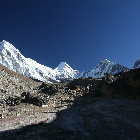 Trek to Everest base camp, look up, Sagarmatha National Park, Nepal