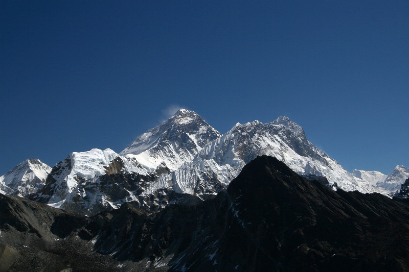 The Top of the World, Mt. Everest (8.850m), Nuptse (7.855m), Lhotse (8.516m), Mt. Makalu (8.463m)